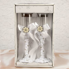 """Свадебные бокалы """"Жемчужина"""", белые 250мл Свадебные аксессуары"""