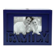 """Фотобокс дерево """"FAMILY"""" на 96 фото 13х18 см синий 20,7х11,8х15 см Подарки и сувениры"""