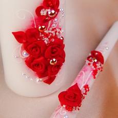 """Семейный очаг """"Розали"""" с белым контуром, полимерная глина, бисер и жемчуг. Цвет красный Свадебные аксессуары"""
