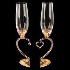 Набор свадебных бокалов 2шт на ножке в виде сердца,29см, золото ST-WEDDING4 (8) Свадебные аксессуары