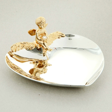 Блюдце для колец с ангелом и хрусталиками сваровски U-3020/SGA Свадебные аксессуары