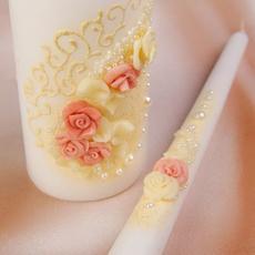 """Семейный очаг """"Андинна"""" контур цвета айвори, полимерная глина, бисер и жемчуг, розовый Свадебные аксессуары"""
