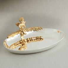 Блюдце для колец овал с ангелом 11,5х4х9 см U-3021/SGA Свадебные аксессуары