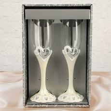 """Бокалы под шампанское """"Свадебные кольца"""" на ножках, полистоун 25см, 250мл Свадебные аксессуары"""