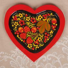 Набор свадебный «Сердце»: 2 фужера, поднос сервировочный, хохлома Свадебные аксессуары