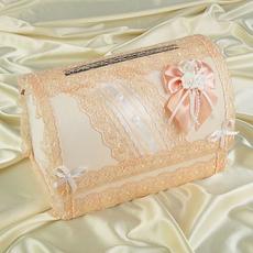 Коробка для денег «Семейный банк» с персиковым кружевом Свадебные аксессуары