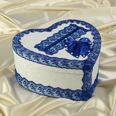 Коробка для денег «Семейный банк» с синим кружевом Свадебные аксессуары