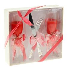 """Свечи восковые (набор 2 шт + нож + вилка) """"Бокал. Яркая свадьба"""", цвет красный Свадебные аксессуары"""